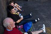 Orlando, Florida<br /> Universal Studios<br /> August 13, 2013<br />  <br /> Universal Studios - Hogwarts Harry Potter castle.<br /> <br /> Tourists drink butter beer.