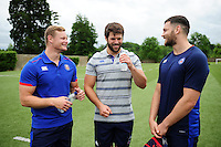 Chris Cook, Guy Mercer and Jeff Williams of Bath Rugby have a chat during a Bath Rugby photoshoot on June 21, 2016 at Farleigh House in Bath, England. Photo by: Patrick Khachfe / Onside Images