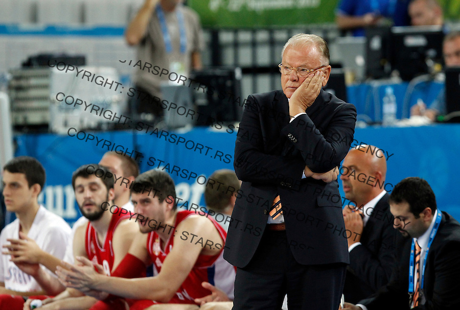 Serbia`s national basketball team head coach Dusan Ivkovic gestures during European basketball championship Eurobasket 2013, round 2, group E basketball game between Belgium and Serbia in Stozice Arena in Ljubljana, Slovenia, on September 11. 2013. (credit: Pedja Milosavljevic  / thepedja@gmail.com / +381641260959)