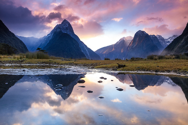 Sunset at Milford Sound - mirror reflection of Mitre Peak , Fiordland National Park, South Island, New Zealand - stock photo, canvas, fine art print