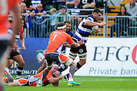 David Sisi of Bath Rugby takes on the Newcastle Falcons defence. Aviva Premiership match, between Bath Rugby and Newcastle Falcons on September 10, 2016 at the Recreation Ground in Bath, England. Photo by: Patrick Khachfe / Onside Images