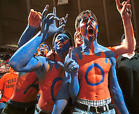 Virginia fans were decked out in school colors from head to toe, some in body paint, to watch the University of Virginia men's basketball team defeat North Carolina 86-66. Photo by Andrew Shurtleff.