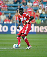 Chicago Fire defender Jalil Anibaba (6) passes the ball.  The Chicago Fire defeated Toronto FC 2-0 at Toyota Park in Bridgeview, IL on August 21, 2011.