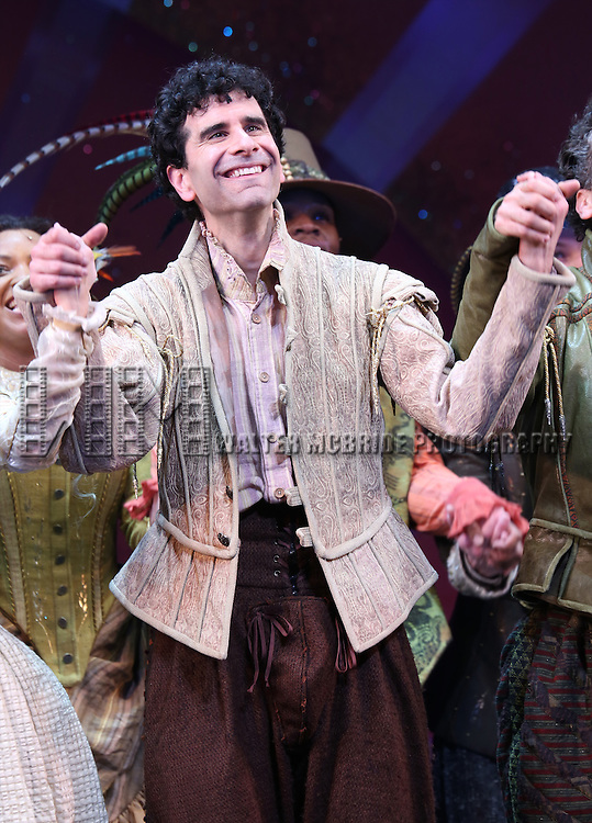 John Cariani during the Broadway Opening Night Curtain Call for 'Something Rotten' at the St. James Theatre on April 22, 2015 in New York City.