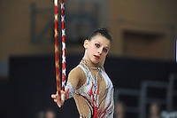 Anastasia Kisse of Bulgaria performs with hoop at 2011 Holon Grand Prix, Israel on March 4, 2011.  (Photo by Tom Theobald)   .