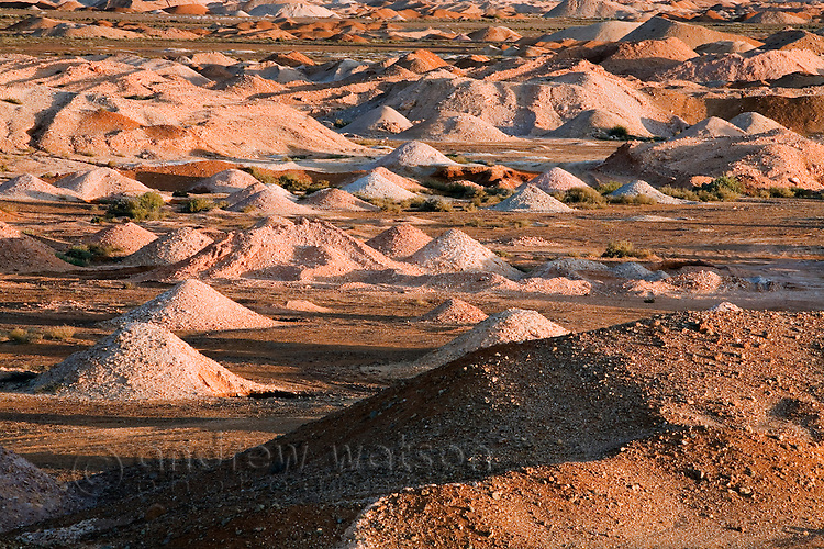 The scarred landscape of the Coober Pedy opal fields.  The conical piles of dirt are formed when a new mine shaft is drilled.  Coober Pedy, South Australia, AUSTRALIA.