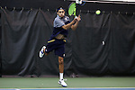27 January 2017: Notre Dame's Grayson Broadus. The University of North Carolina Tar Heels hosted the University of Notre Dame Fighting Irish at the Cone-enfield Tennis Center in Chapel Hill, North Carolina in the first round of the Intercollegiate Tennis Association Men's Indoor Team Championship. North Carolina won the match 4-0.