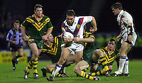 Pix: Simon Wilkinson/SWpix.com.International Rugby League. Great Britain v Australia. Guinness Test Series. Huddersfield. 11/11/2001...COPYWRIGHT PICTURE>>SIMON WILKINSON>>01943 436649>>..Great Britains Kevin Sinfield Leaves the Australian defence in tatters on another surge upfield