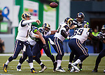 St. Louis Rams  quarterback Shaun Hill (14) passes against the Seattle Seahawks at CenturyLink Field in Seattle, Washington on December 28, 2014.  The Seahawks officially wrapped up the No. 1 seed in the NFC playoffs shortly after beating the Rams, 20-6. Despite the Cowboys and Packers also winning to finish 12-4, the Seahawks (12-4) won the multi-team tiebreaker and earned home-field advantage throughout the playoffs for the second consecutive season.  ©2014. Jim Bryant Photo. All Rights Reserved.