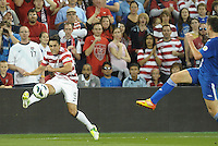 U.S forward Herculez Gomez (9) sends in a cross..USMNT defeated Guatemala 3-1 in World Cup qualifying play at LIVESTRONG Sporting Park, Kansas City, KS.
