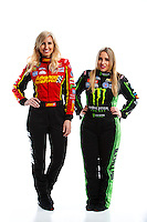 Feb 8, 2017; Pomona, CA, USA; NHRA funny car driver Courtney Force (left) and sister top fuel driver Brittany Force pose for a portrait during media day at Auto Club Raceway at Pomona. Mandatory Credit: Mark J. Rebilas-USA TODAY Sports