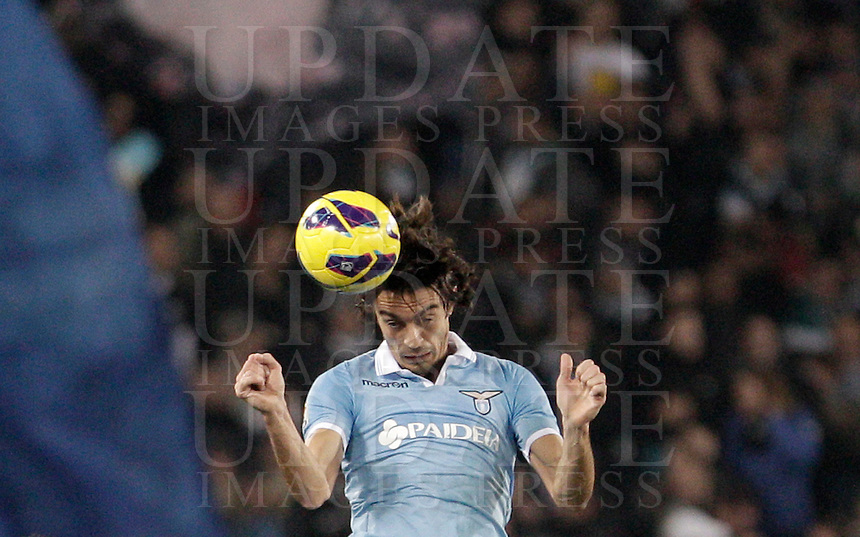 Calcio, Serie A: Lazio vs Inter, Roma, stadio Olimpico, 15 dicembre 2012..Lazio defender Giuseppe Biava heads the ball during the Italian Serie A football match between Lazio and FC Inter at Rome's Olympic stadium, 15 December 2012..UPDATE IMAGES PRESS/Riccardo De Luca