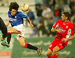Rangers v Energie Cottbus 18.1.2003, Dubai al sahbab stadium: Jerome Bonnisel launches a header goalwards.