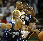 Seattle SuperSonics'  Ray Allen drives past Utah Jazz'  DeShawn Stevenson in NBA basketball action in the period Friday, Nov. 17, 2006 in Seattle.  Jim Bryant Photo. &copy;2010. All Rights Reserved.