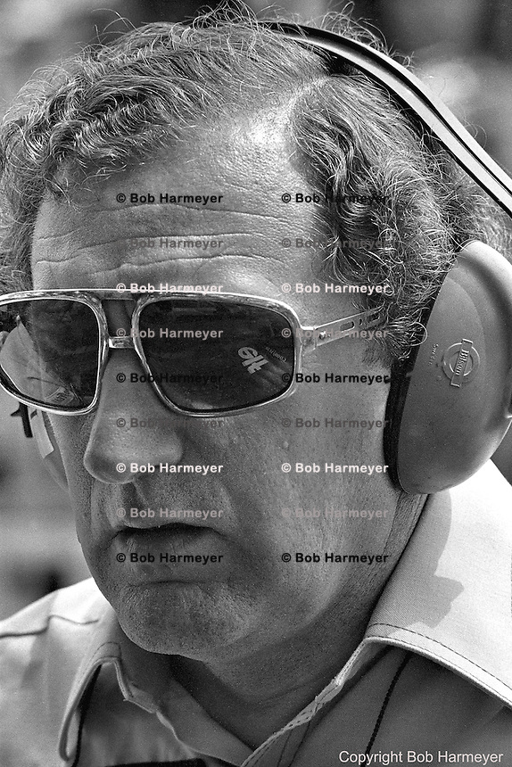Derek Gardner, designer of the Tyrrell P34 six-wheel Formula 1 car, in the pit lane during practice for the 1976 Grand Prix of Monaco.