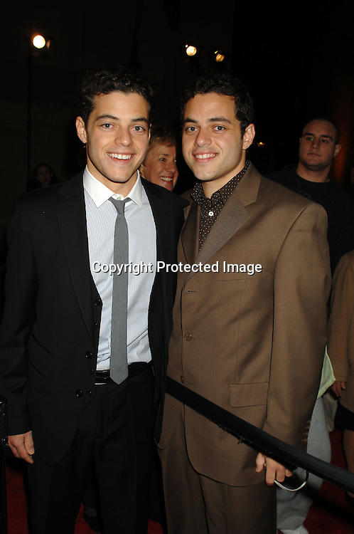 "Rami Malek and twin brother Sami Malek ..at The World Movie Premiere of ""Night At The Museum"" and the official launch of the Natural History Museum's sleeepover program on December 17, 2006 at The American Museum of Natural History in New York...Robin Platzer, Twin Images"