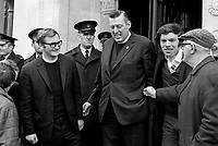 Rev Ian Paisley, Bannside, and Rev. William Beattie, South Antrim, at the N Ireland Parliament buildings, Stormont after taking their seats following by-election successes in 1970. They stood as candidates for the Protestant Unionist Party, the forerunner of the Democratic Unionist Party. 197004210118F<br />