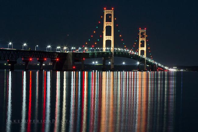 Mackinac Bridge, Reflections, night