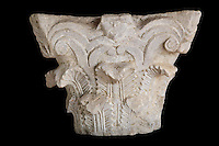 Roman Corinthian capital in limestone, from Volubilis, Northern Morocco. Volubilis was founded in the 3rd century BC by the Phoenicians and was a Roman settlement from the 1st century AD. Volubilis was a thriving Roman olive growing town until 280 AD and was settled until the 11th century. The buildings were largely destroyed by an earthquake in the 18th century and have since been excavated and partly restored. Volubilis was listed as a UNESCO World Heritage Site in 1997. Picture by Manuel Cohen