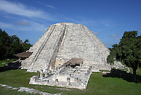 Room of the paintings and Pyramid of Kukulkan called El Castillo, The Castle, Mayapan, old Maya capital, c. 1250, destroyed during civil war, 1441, Yucatan, Mexico. Picture by Manuel Cohen