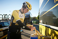 Sep Vanmarcke (BEL/LottoJumbo) getting ready for a training ride<br /> <br /> Team Lotto Jumbo winter training camp<br /> Moj&aacute;car, Spain, January 2015