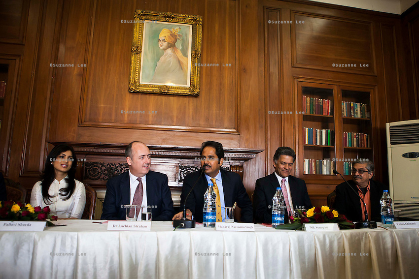 (L-R) Pallavi Sharda (OzFest ambassador), Dr. Lachlan Strahan (Australian Deputy High Commissioner to India), Maharaj Narendra Singh (Maharaj of Jaipur), Nik Senapati (Rio Tinto Managing Director), and Yunus Khimani (of the Jaipur Palace) sit together as Maharaj Narendra Singh speaks during a press conference on Oz Fest in Raj Mahal Palace hotel, Jaipur, India on 10th January 2013. Photo by Suzanne Lee/DFAT