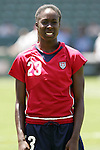 24 July 2005: U.S. defender Tina Frimpong, pregame. The United States defeated Iceland 3-0 at the Home Depot Center in Carson, California in a Women's International Friendly soccer match.
