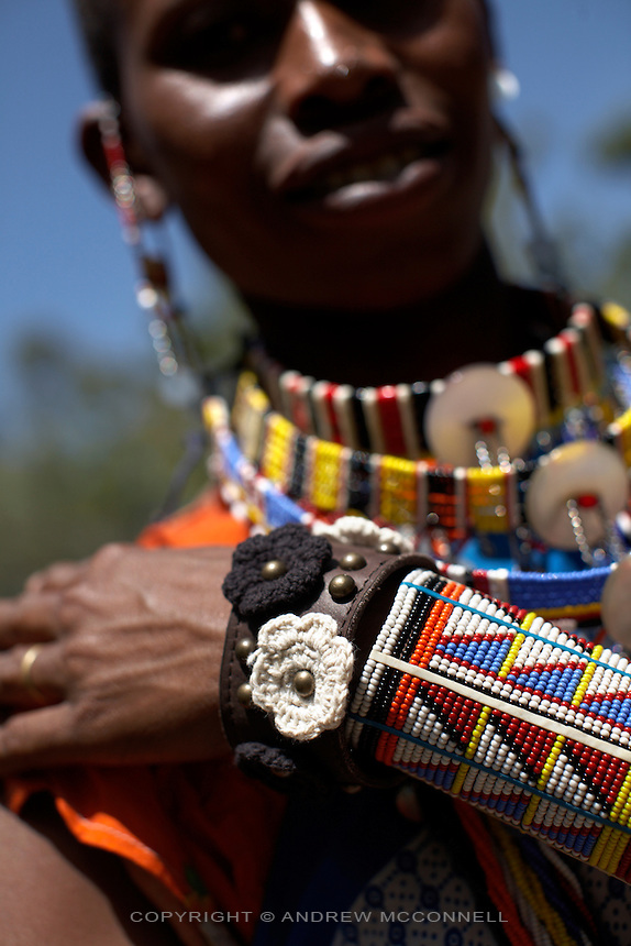 The Zagara bracelet is modeled by a Maasai woman at Marula Studios, Nairobi, Kenya, on Tuesday, Jan. 13, 2009. The Maasai are one of groups who contribute to production of the MAX&Co. range and mainly carry out bead work at which they are specialists. Marula Studios is the headquarters for MAX&Co. operations in Kenya and produces some of the MAX&Co. range as well as their own products such as a range of items made from recycled flip flops. Once the various community groups have finished their MAX&Co. orders they are sent here to Marula Studios and are packaged before shipment.