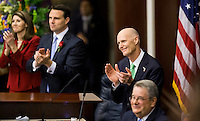 TALLAHASSEE, FLA. 3/4/14-House Speaker Pro Tempore, Marti Coley, R-Marianna, left, Speaker Will Weatherford, R-Wesley Chapel and Senate President Don Gaetz, R-Niceville, right, join Gov. Rick Scott, second from right,  during the opening day of the legislative session, March 4, 2014 at the Capitol in Tallahassee.<br /> <br /> COLIN HACKLEY PHOTO