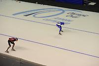 SPEEDSKATING: CALGARY: Olympic Oval, 07-03-2015, ISU World Championships Allround, 3000m Ladies, Claudia Pechstein (GER), Heather Richardson (USA), ©foto Martin de Jong