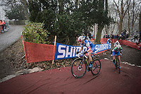 teammates (and later nr's 1&amp;2 on the podium:) Katerina Nash (CZE/Luna) &amp; Eva Lechner (ITA/Luna) at the front of the race<br /> <br />  UCI Cyclocross World Cup Namur/Belgium 2016