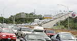 Tourist and residents flood north on Interstate 10 as they evacuate New Orleans, Louisiana in an attempt to flee Hurricane Katrina August 28, 2005, even though many of them have no idea where to go. Hurricane Katrina has already killed seven when she made her first landfall in south Florida as a category 1 storm and has set her sights on this tourist city that was built below sea level.