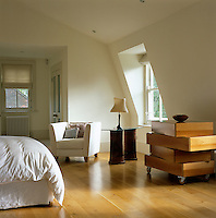 The contemporary bedroom takes advantage of the shape of the roof with well-placed built-in cupboards