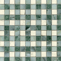 Bonnie, a stone mosaic field shown in Bianco Antico, Kay's Green and Wujan Jade, is part of the Plaids and Ginghams Collection by New Ravenna Mosaics.