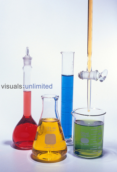 Laboratory glassware, including a volumetric flask, Erlenmeyer flask, graduated cylinder, beaker, and a burette....