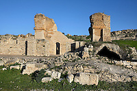 General view of the Ain Doura Baths, 2nd century, in Dougga, Tunisia, pictured on January 31, 2008, in the morning. Dougga has been occupied since the 2nd Millenium BC, well before the Phoenicians arrived in Tunisia. It was ruled by Carthage from the 4th century BC, then by Numidians, who called it Thugga and finally taken over by the Romans in the 2nd century. Situated in the north of Tunisia, the site became a UNESCO World Heritage Site in 1997. This was one of Dougga's main summer baths. Picture by Manuel Cohen.