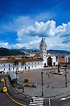 Plaza Santo Domingo and the 17th  Century Church of Santo Domingo in the capital city of Quito, Ecuador.