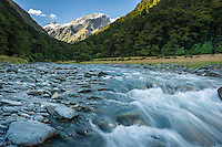Mountain River in Matukituki Valley, Mt. Aspiring National Park, Otago, South Island, New Zealand