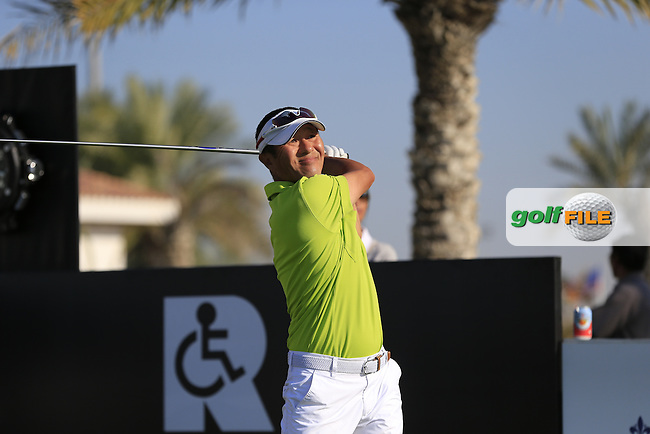 Henry Kim tees off the 10th tee to start his match during the 2015 Abu Dhabi Invitational Am-Am event held at Yas Links Golf Course, Abu Dhabi.: Picture Eoin Clarke, www.golffile.ie: 1/26/2015
