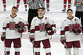 Sean Malone (Harvard - 17), Devin Tringale (Harvard - 22), Alexander Kerfoot (Harvard - 14) - The Harvard University Crimson defeated the St. Lawrence University Saints 6-3 (EN) to clinch the ECAC playoffs first seed and a share in the regular season championship on senior night, Saturday, February 25, 2017, at Bright-Landry Hockey Center in Boston, Massachusetts.