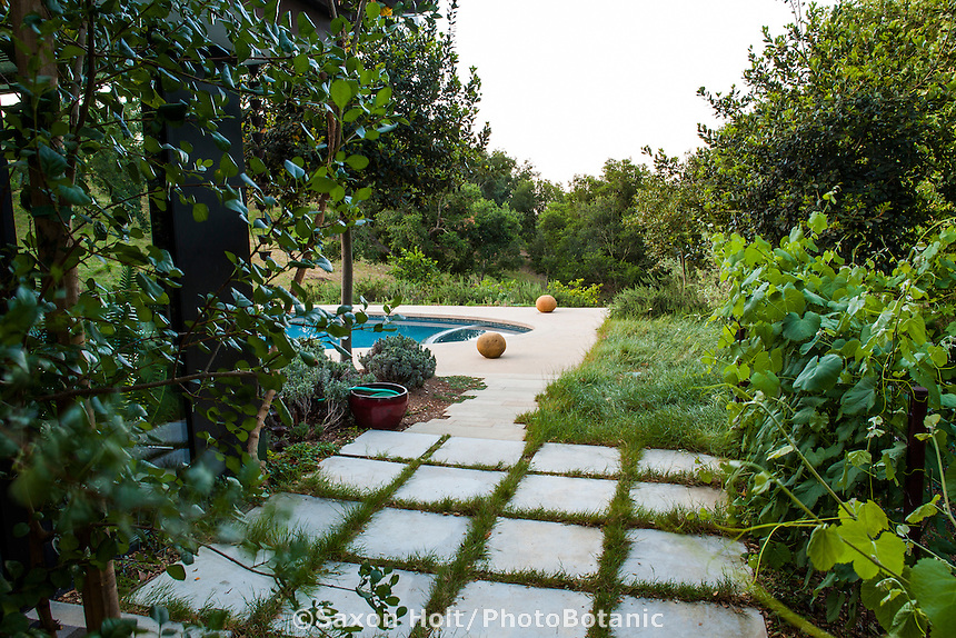 Permeable pavers for walkway, Coyote House, SITES® residential home with sustainable garden Santa Barbara California, Susan Van Atta design
