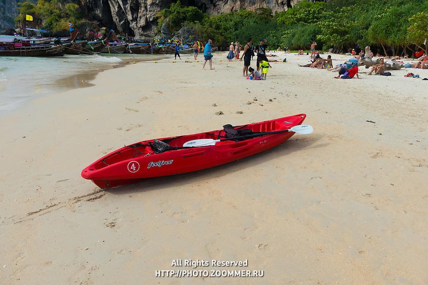 Red kayak on Thailand beach in Krabi
