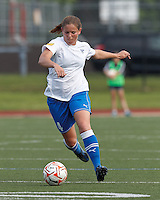 Boston Breakers defender Cat Whitehill (4) passes the ball. In a Women's Premier Soccer League Elite (WPSL) match, the Boston Breakers defeated Western New York Flash, 3-2, at Dilboy Stadium on May 26, 2012.