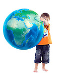 Cute little boy holding world globe, blue planet Earth in his hands, conceptual photo isolated on white background. Peace, environment, science and education concept.
