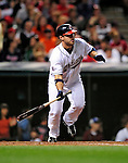 4 September 2009: Cleveland Indians' catcher Kelly Shoppach in action against the Minnesota Twins at Progressive Field in Cleveland, Ohio. The Indians defeated the Twins 5-2 to take the first game of their three-game weekend series. Mandatory Credit: Ed Wolfstein Photo