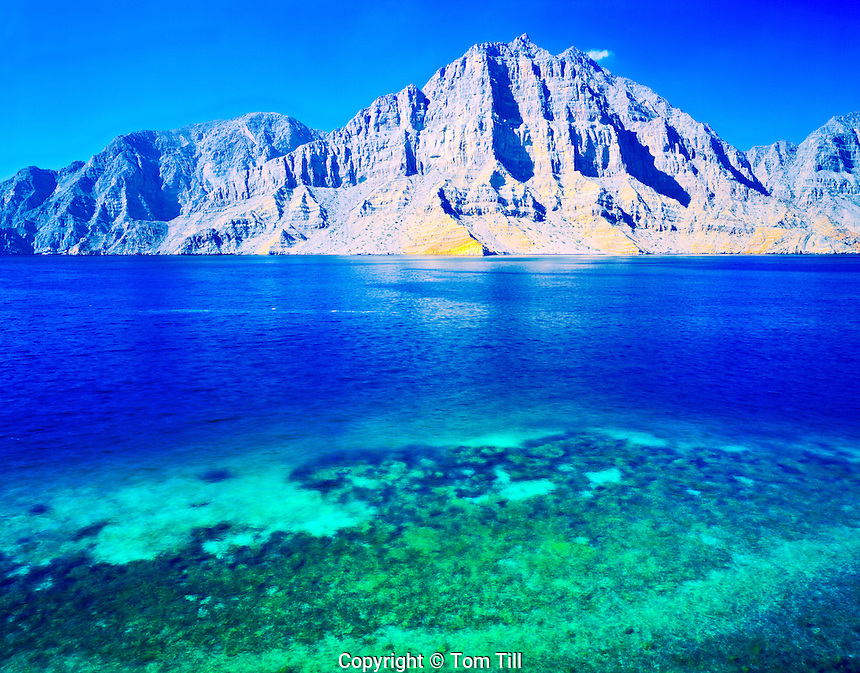 Desert Fiords and Coral Reefs, Telegraph Island, Musandam Penninsula, Sultanate of Oman