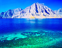 Desert Fiords and Coral Reefs, Telegraph Island, Musandam Penninsula, Sultanate of Oman