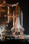 The Space Shuttle  Discovery is revealed on the eve of its launch  for the final time on February 24, 2011 at Kennedy Space Center.  Discovery's mission takes it to the International Space Station (ISS) to deliver the PMM module and Robonaut 2.