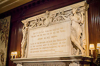"""A quote from Thomas Jefferson adorns the mantlepiece of a fireplace in the Trustee's Room in the New York Public Library main branch (Schwarzmann Building) on Wednesday, May 22, 2013. (© Richard B. """"evine)"""