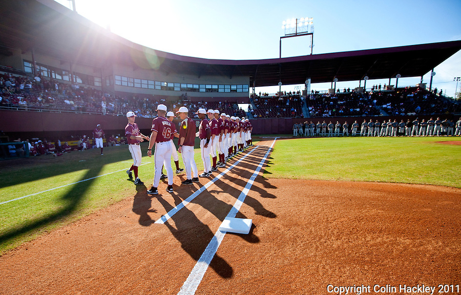 TALLAHASSEE, FL 2/18/11-FSU-VMI BASE11 CH-Florida State players are introduced before the Virginia Military Institute game Friday at Dick Howser Stadium in Tallahassee. The Seminoles beat the Keydets 12-0 in the season opener for both teams..COLIN HACKLEY PHOTO
